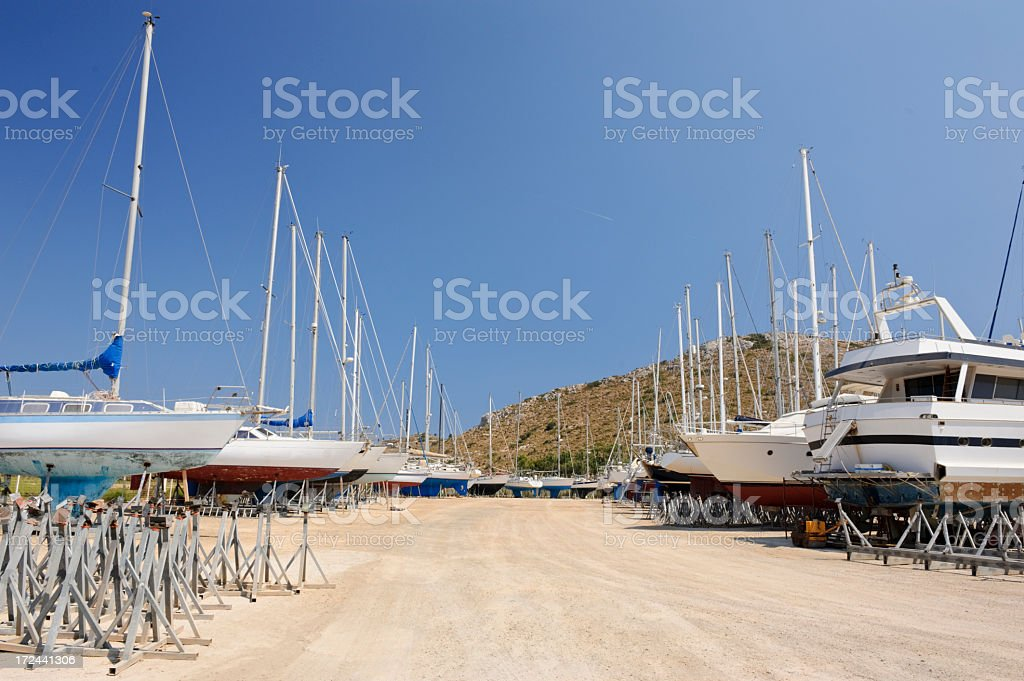 Leros boatyard stock photo