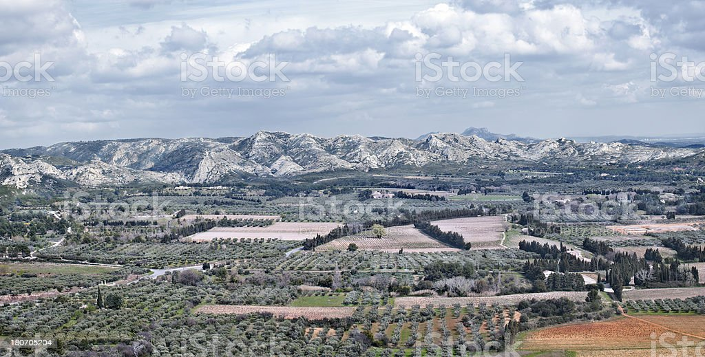 Les Alpilles panorama, Provence, France stock photo