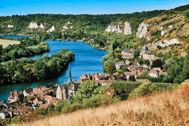 Les Andelys by the River Seine, Normandy, France stock photo