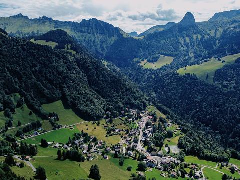 Les Avants village and Col de Jaman from above
