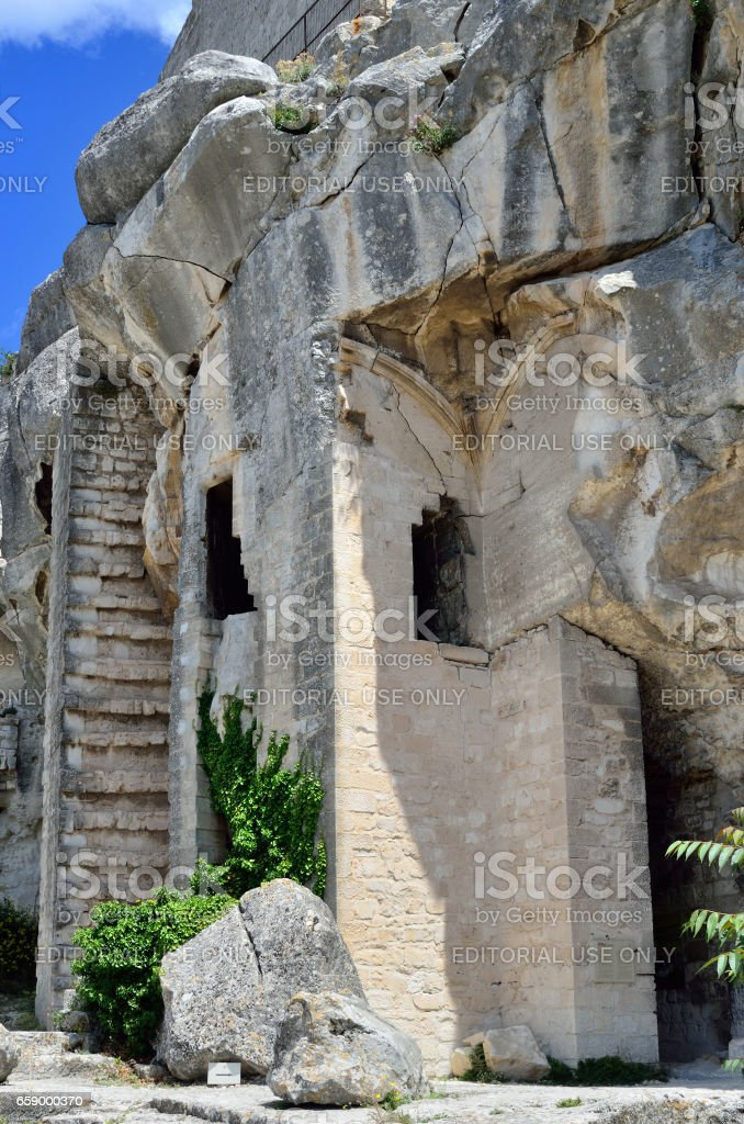 Les Baux castle, France stock photo