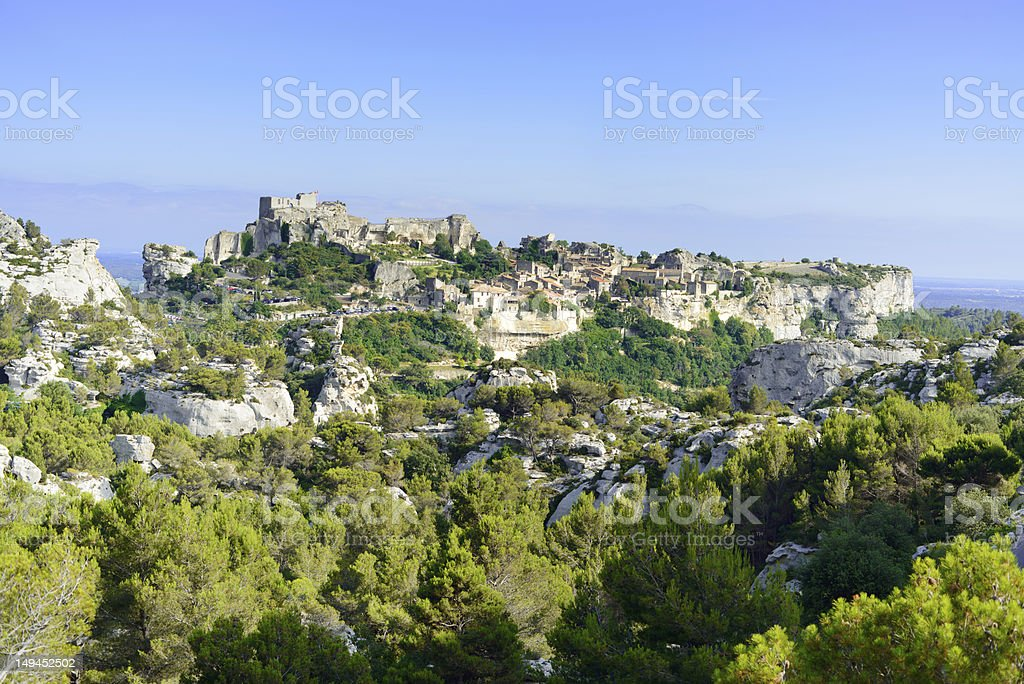 Les Baux de Provence village and castle. France, Europe. stock photo