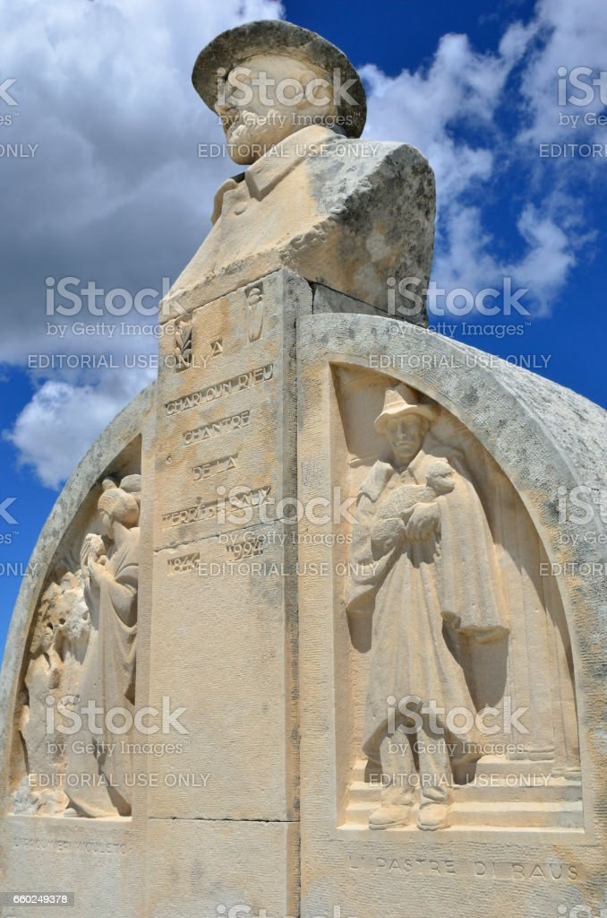 Les Baux, monument of Charloun dou Paradou stock photo