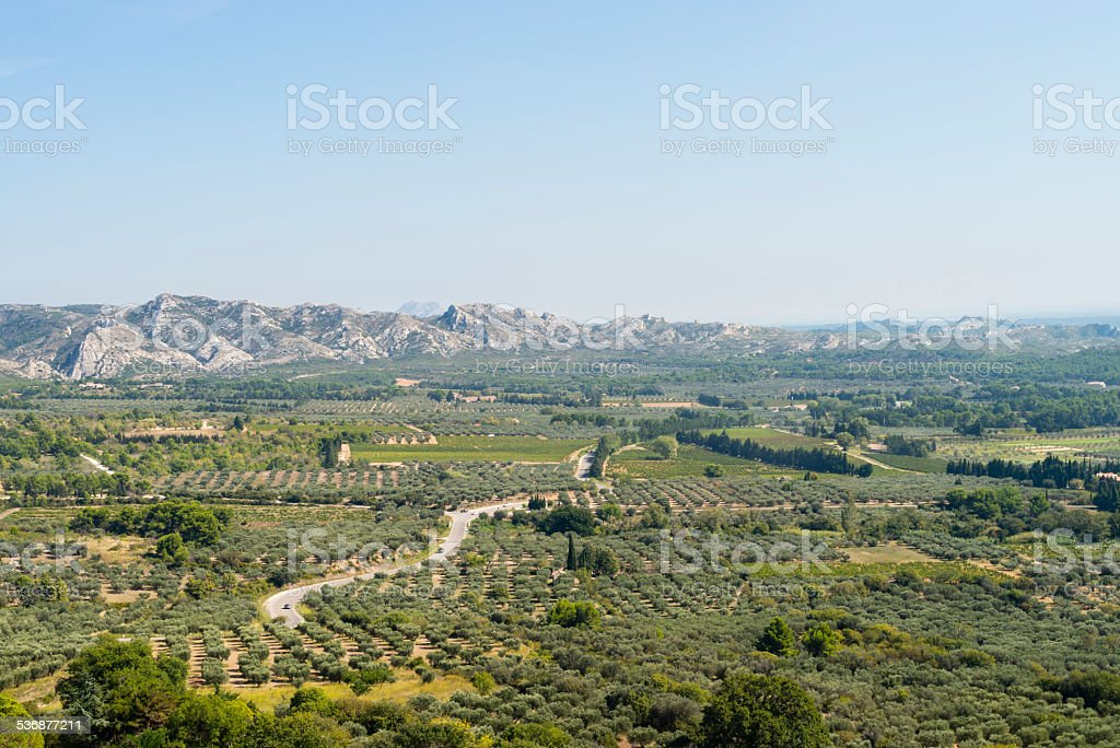 Les Baux-de-Provence, aerial view, Provence, France. stock photo
