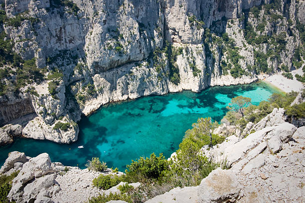 les calanques on the french riviera - marseille stockfoto's en -beelden