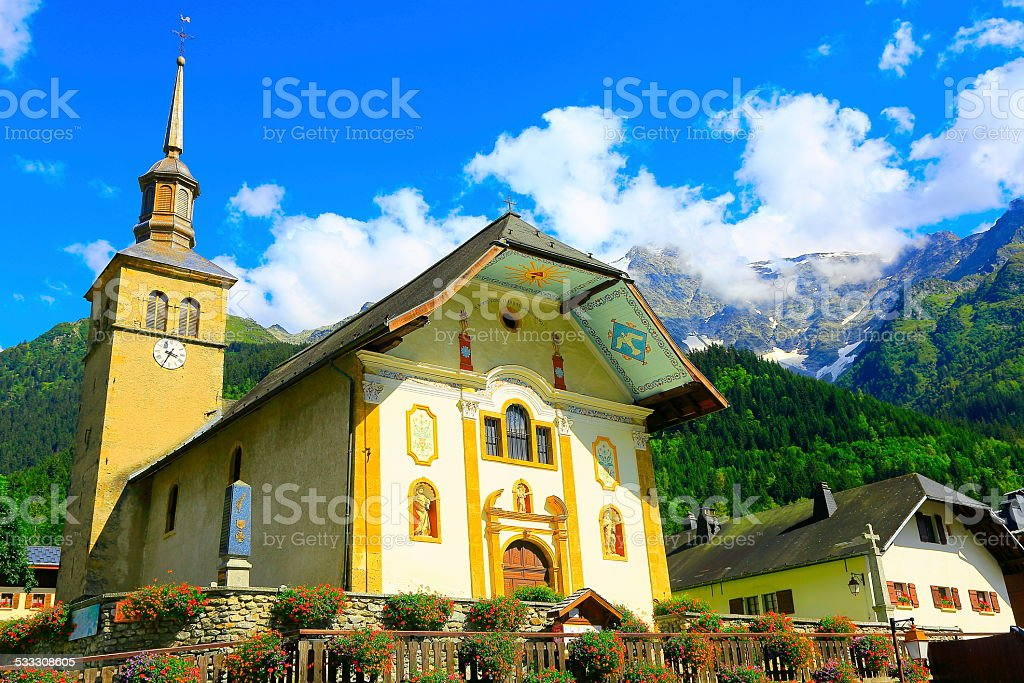Les Contamines-Montjoie alpine village church, French Alps stock photo