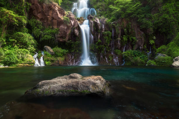 les cormorans waterfall in saint-gilles on reunion island - waterfall stock photos and pictures
