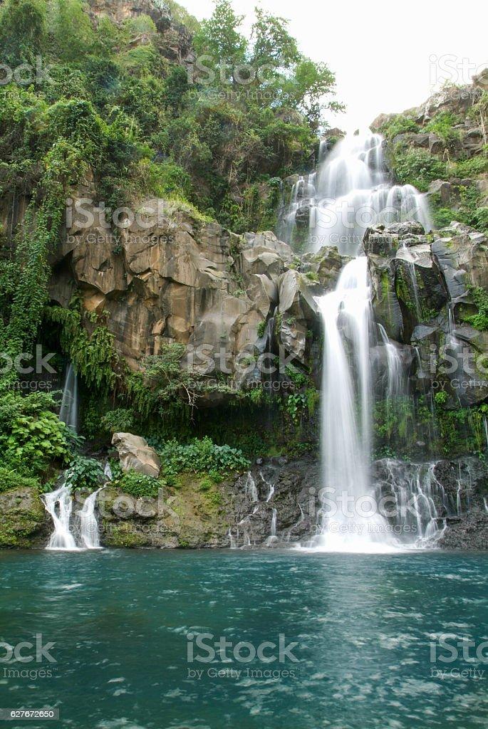 Les Cormorans waterfall on Reunion island stock photo