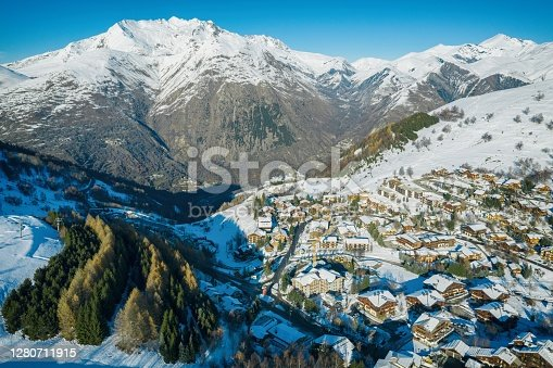 Les deux alpes resort in winter, French alps, Rhone Alpes in France Europe aerial drone photo