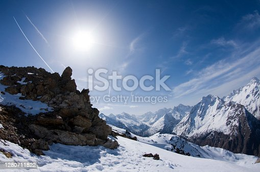 Les deux alpes resort in winter, mountains in French alps, Rhone Alpes in France Europe