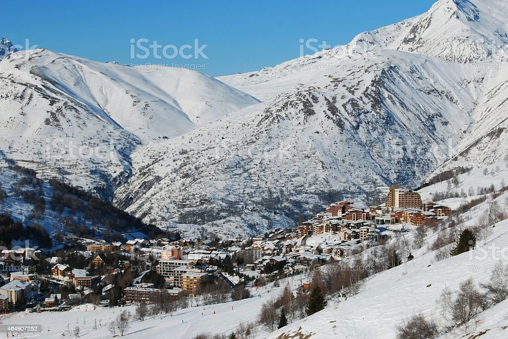 Les Deux Alpes ski resort, France stock photo