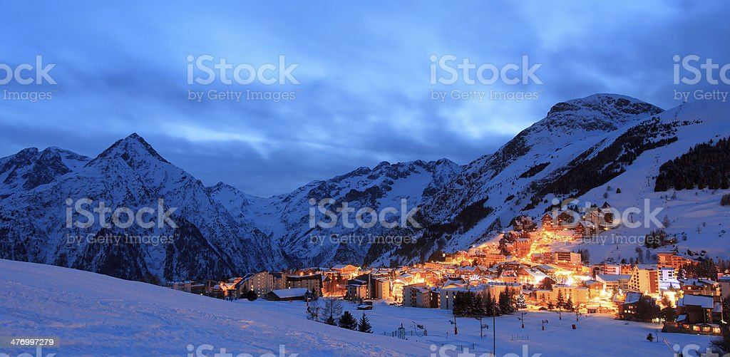 Les Deux Alpes ski resort stock photo
