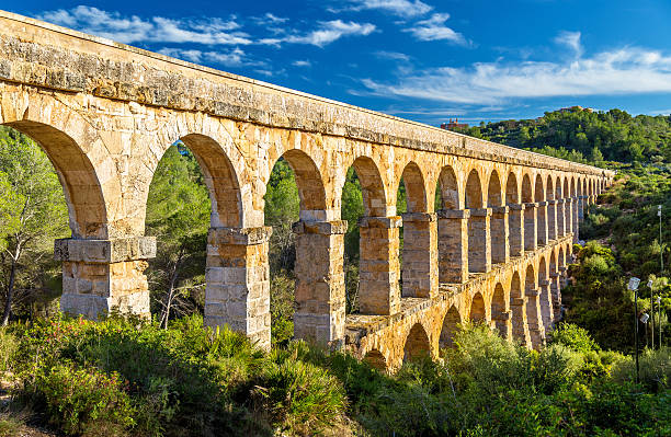 les ferreres aqueduct, also known as pont del diable - - roman stock photos and pictures
