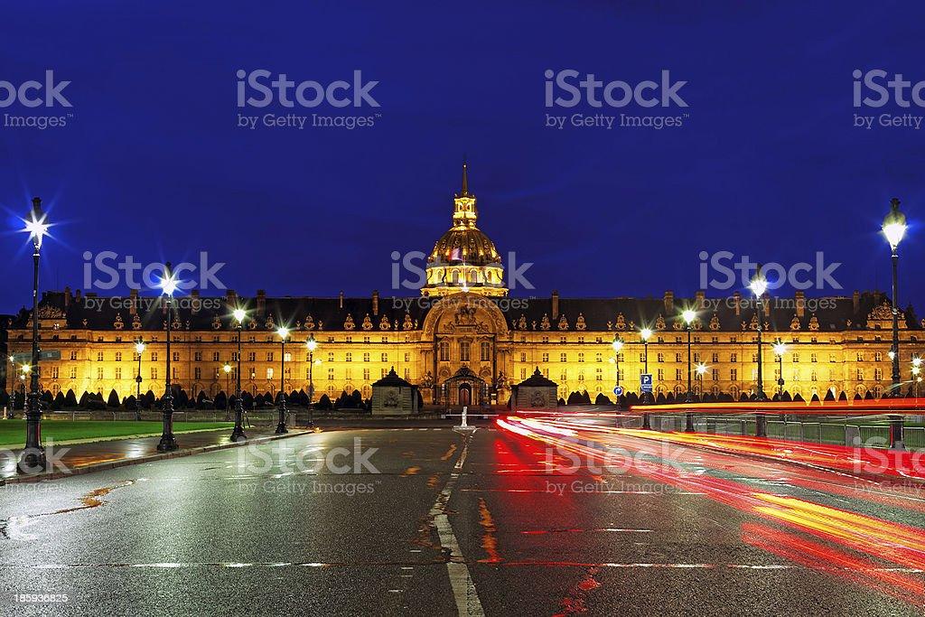 Les Invalides at night - Paris, France. stock photo