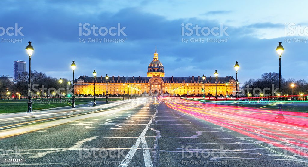 Les Invalides at night - Paris, France stock photo