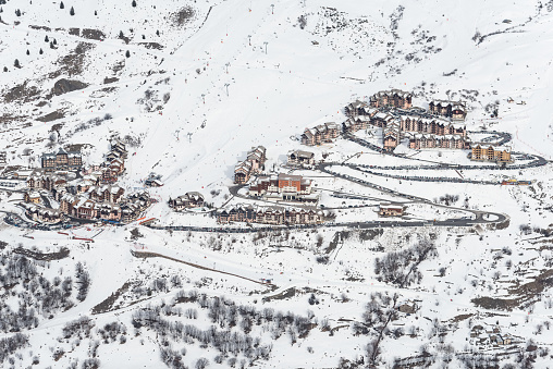 Les Menuires resort. French alps in winter, snowy mountains in France Europe