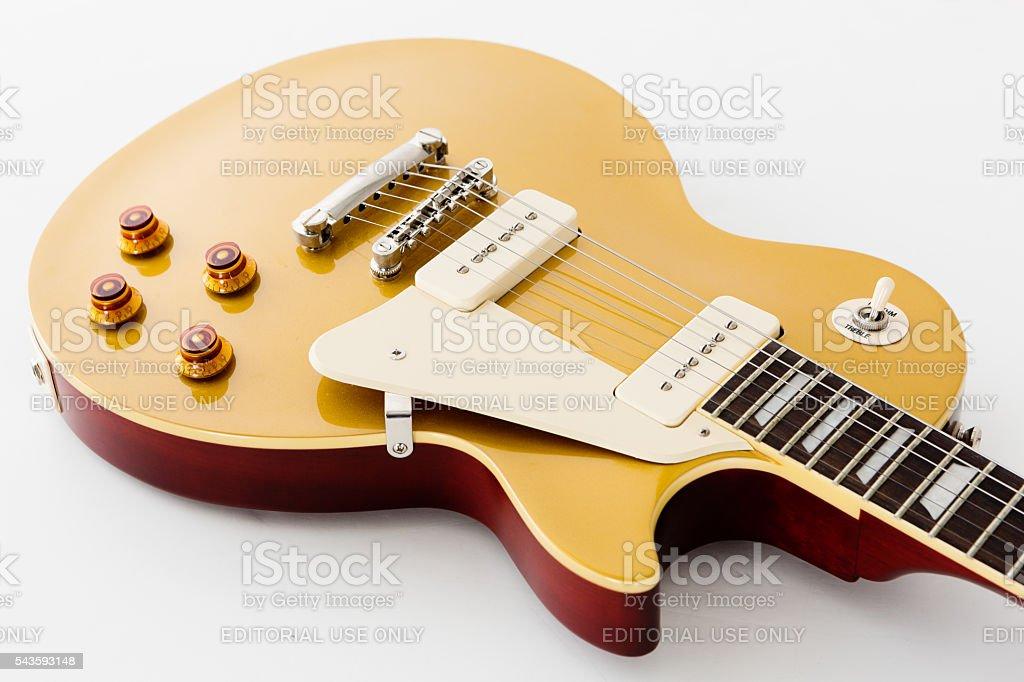 56 les paul pro electric guitar showing volumetone rhythmtreble switch stock photo download. Black Bedroom Furniture Sets. Home Design Ideas