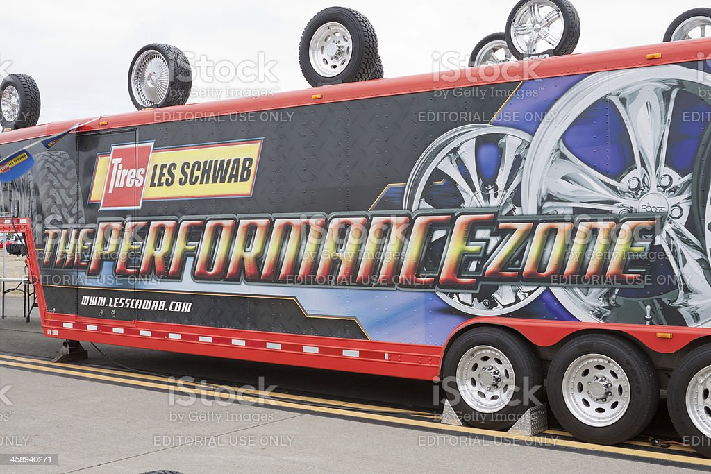Les Schwab Tire Mobile Display royalty-free stock photo