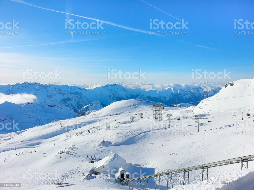 Les2Alpes ski resort slopes aerial view, France stock photo