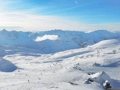 Les2Alpes ski resort slopes aerial view, France