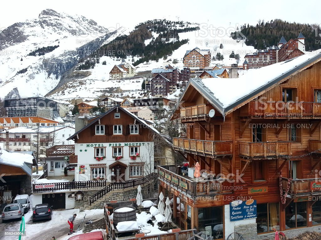 Les2Alpes ski resort town and slopes aerial view, France stock photo