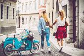 Lesbian Couple Exploring an Italian City.