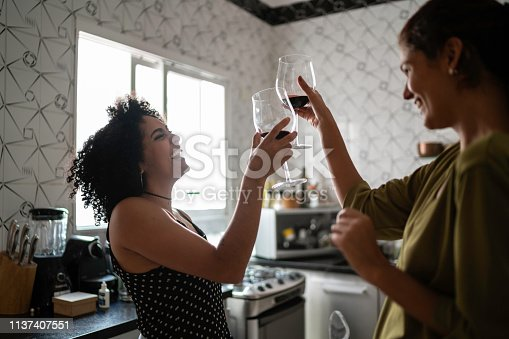 Married Lesbian Couple Enjoying Good Moments Together at Home