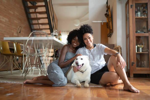 lesbische paar of vrienden met berger blanc suisse dog at home - lesbische stockfoto's en -beelden