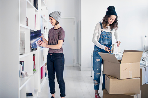 istock Lesbian couple unpacking cardboard box in new home 670488194