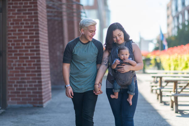Lesbian couple walking with baby A young adult LGBT couple is spending time together. The partners are walking with their baby in the city. It's a sunny day. The cisgender adult is holding the baby in a carrier. The couple is holding hands and smiling. cisgender stock pictures, royalty-free photos & images