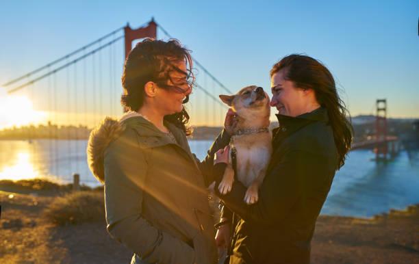Lesbian couple with shiba inu pet dog in front of golden gate bridge picture id930264774?b=1&k=6&m=930264774&s=612x612&w=0&h=n8h906oiosgoxcnmcxgkqhtbdmzivlkry71g0 evjcs=
