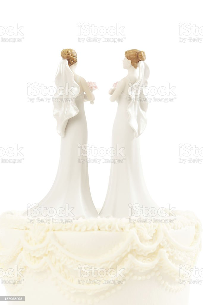 Lesbian Same Sex Marriage Wedding Cake Topper Figurines Vertical royalty-free stock photo