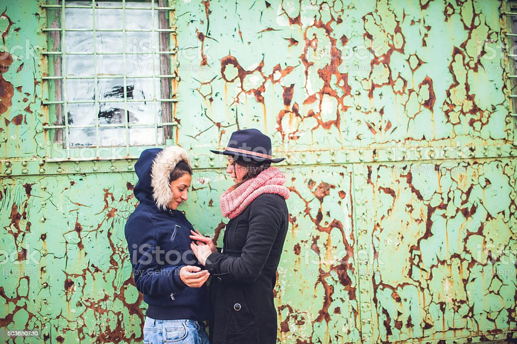 Lesbian touch stock photo