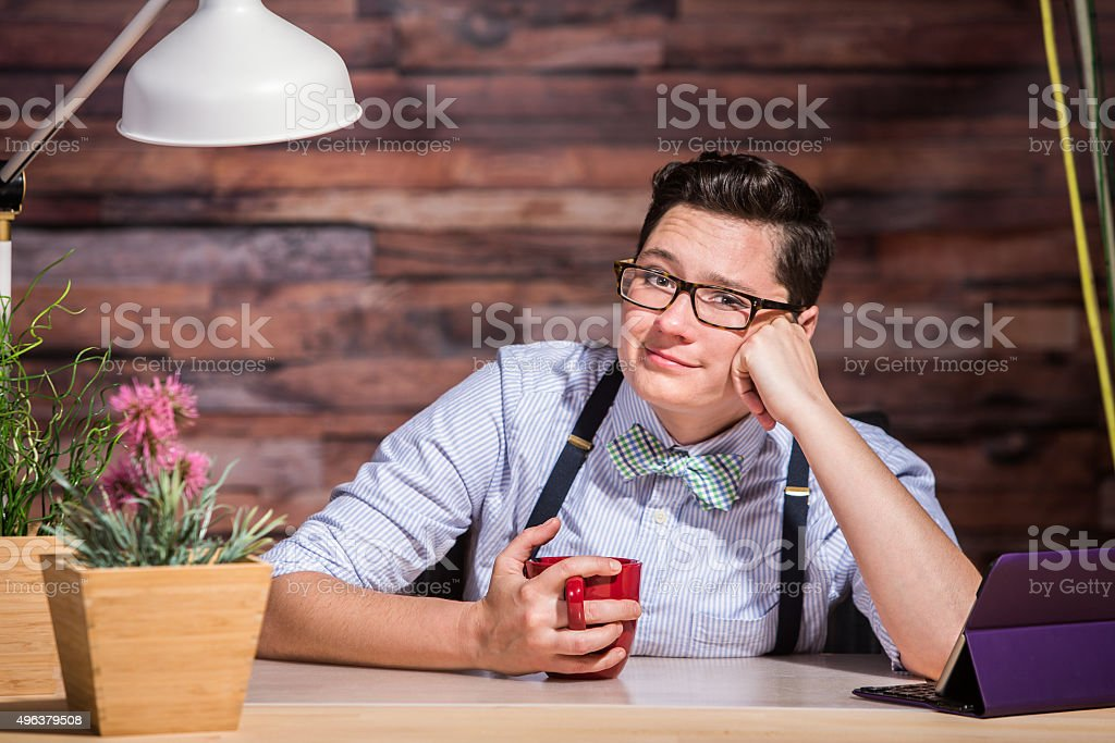 Lesbian Woman With Hand on Cheek stock photo