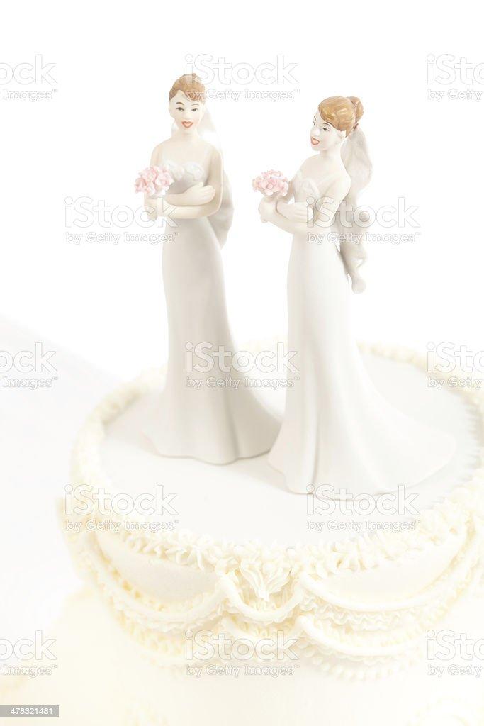 Lesbische Frauen Gleichen Geschlechts Ehe Hochzeitstorte Isoliert