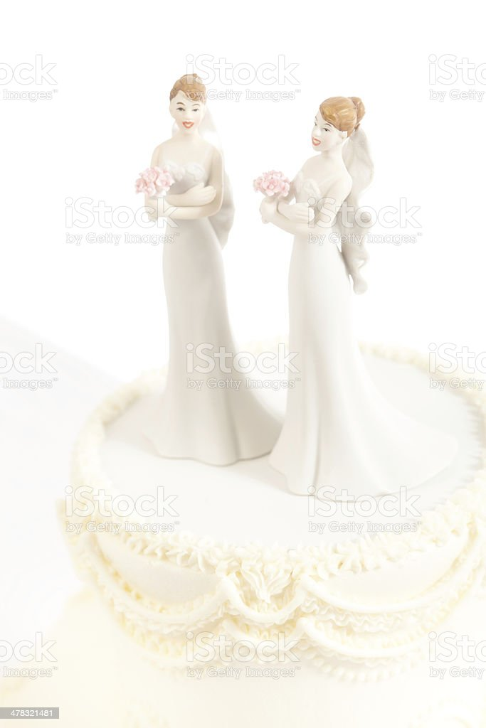Lesbian Women Same Sex Marriage Wedding Cake Isolated on White stock photo