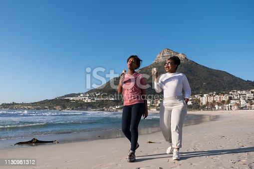 istock Lesbians enjoy a walk and an ice cream on the beach 1130981312