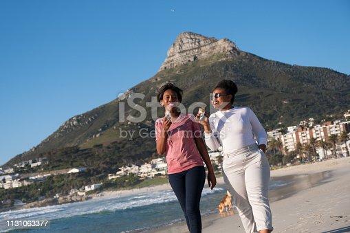 istock Lesbians enjoy an ice cream at the beach 1131063377