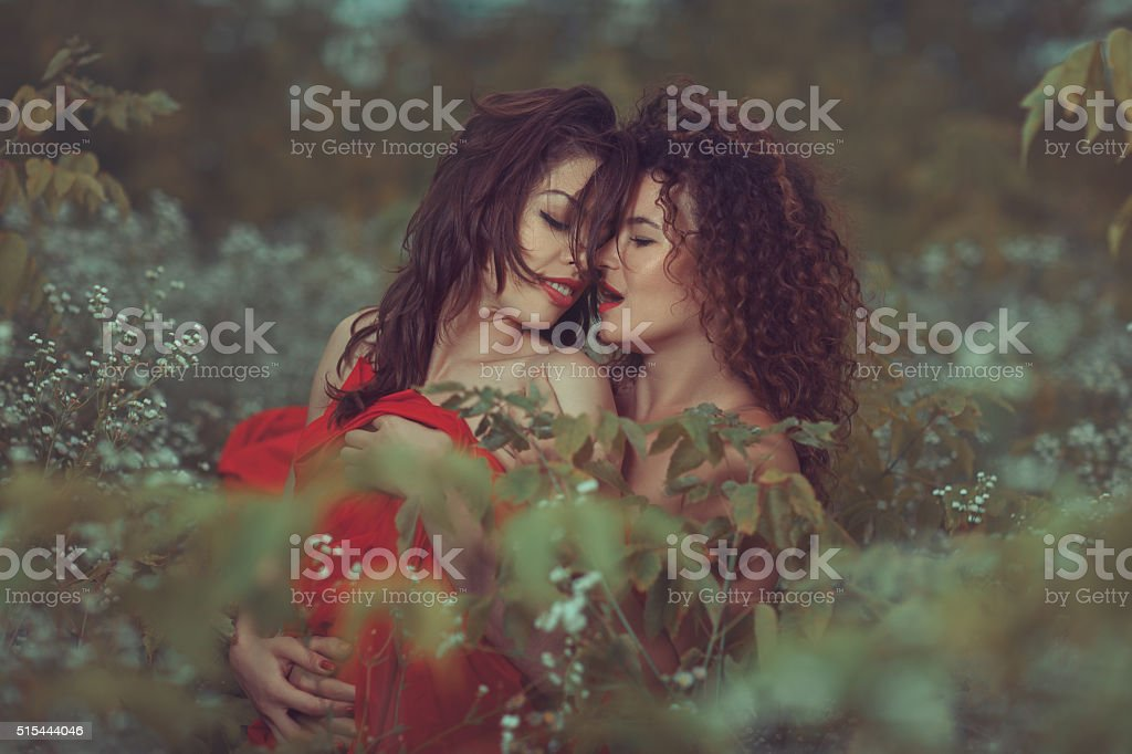 Lesbians in the park. stock photo