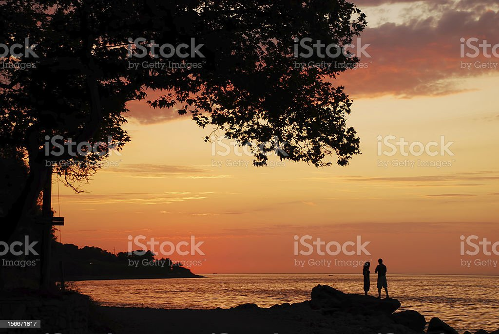 lesbos in the sunset royalty-free stock photo