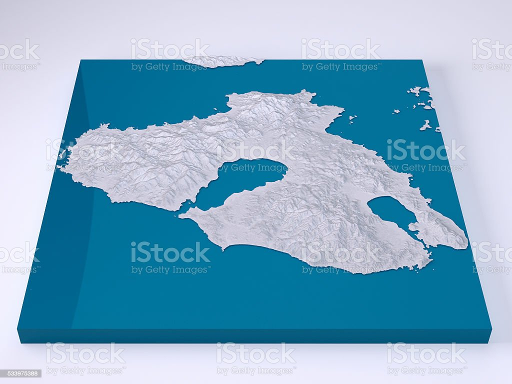 Lesbos Island 3d Model Topographic Map White Frontal Stock Photo