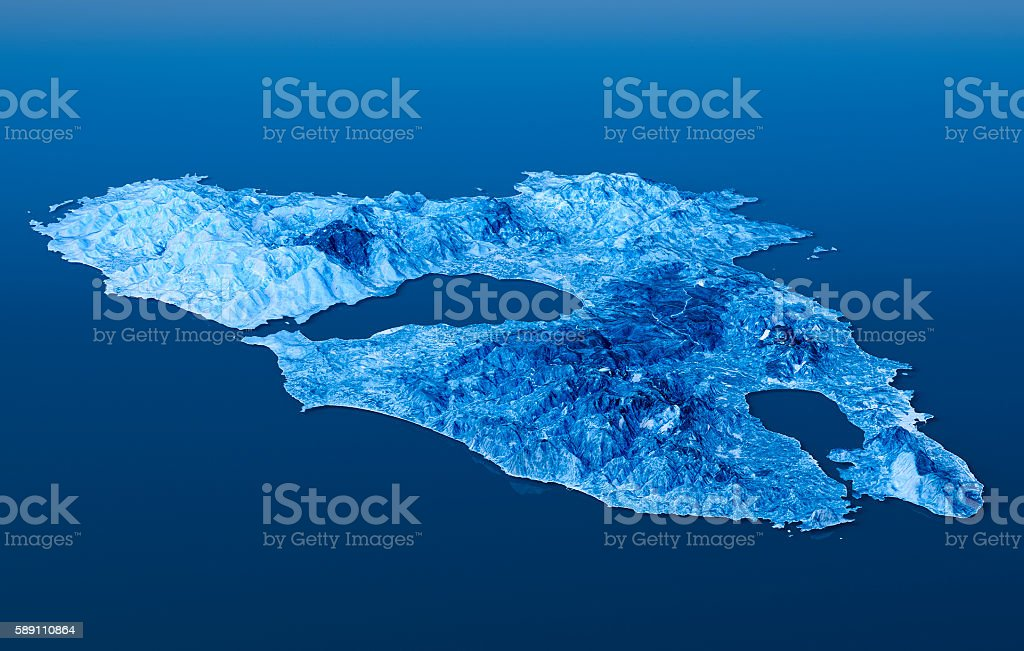 Lesbos Island Topographic Map 3d Landscape View Blue Color Stock