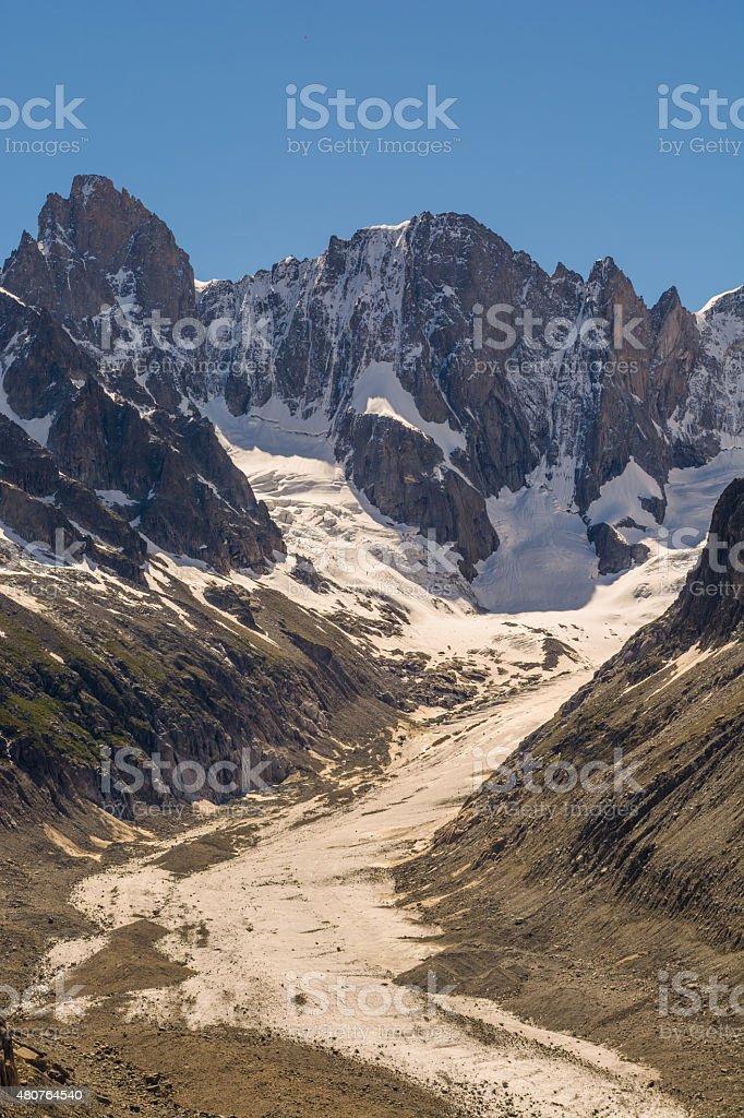 Leschaux glacier Mont Blanc massif stock photo