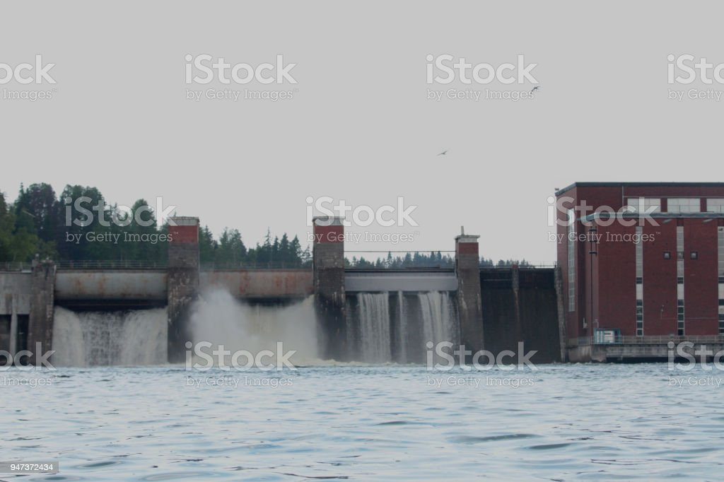 Lesogorskaya hydroelectric power station, near Svetogorsk town, The Leningrad Region, Russia. stock photo