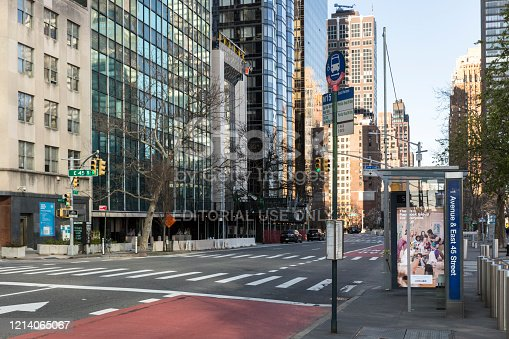 New York City, U.S.A - March 21st, 2020:  Less people at midtown Manhattan due to Coronavirus outbreak.
