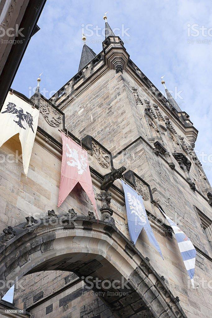 Lesser Town Tower, Charles Bridge, Prague stock photo