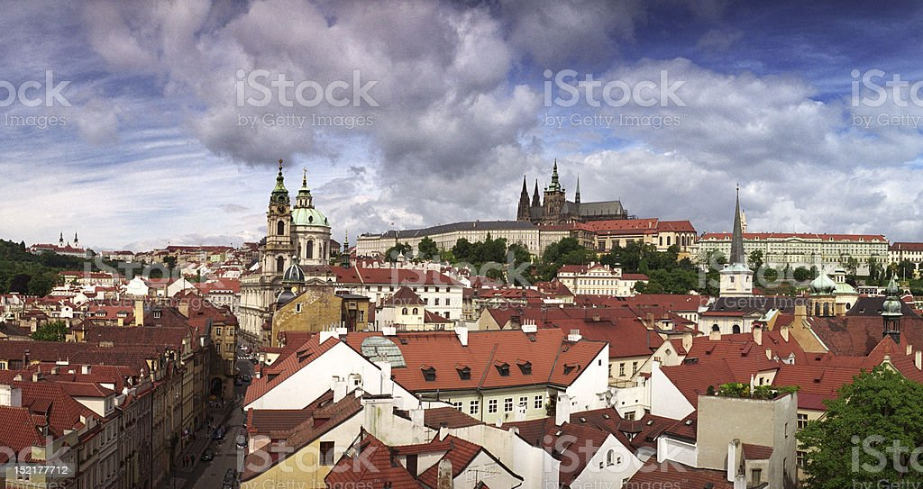 Lesser Town with Saint Nicholas Church and Prague Castle royalty-free stock photo