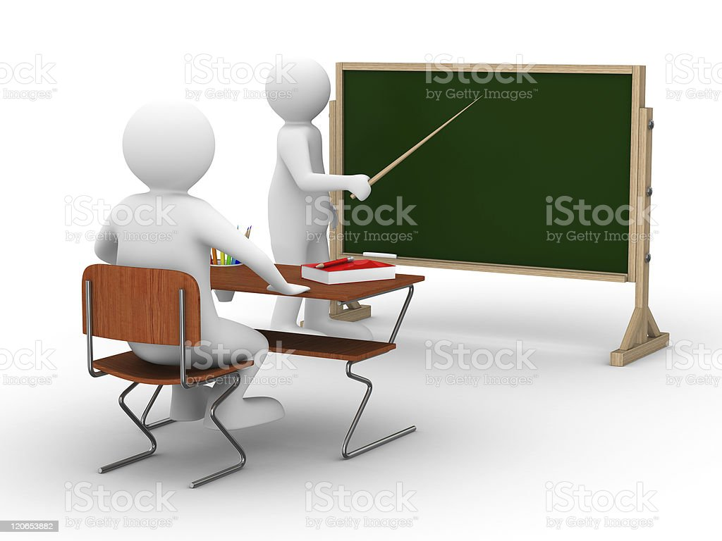 Lesson at school. Isolated 3D image on white royalty-free stock photo