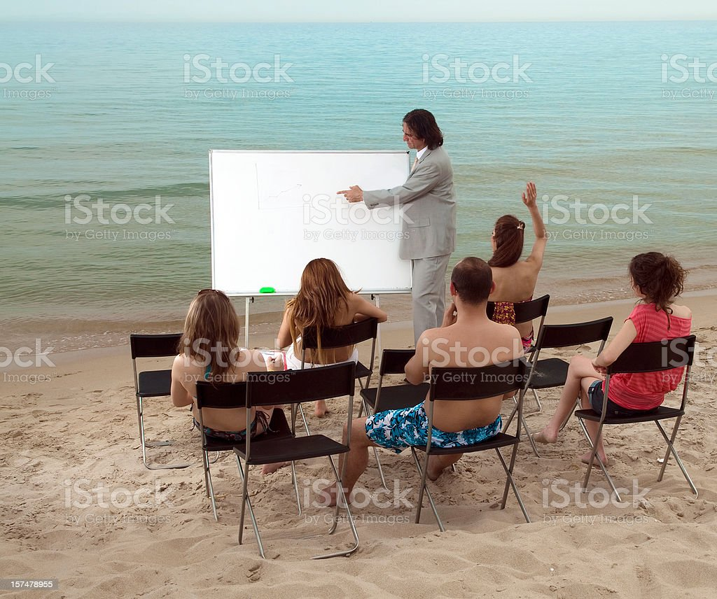 Lesson on the beach royalty-free stock photo
