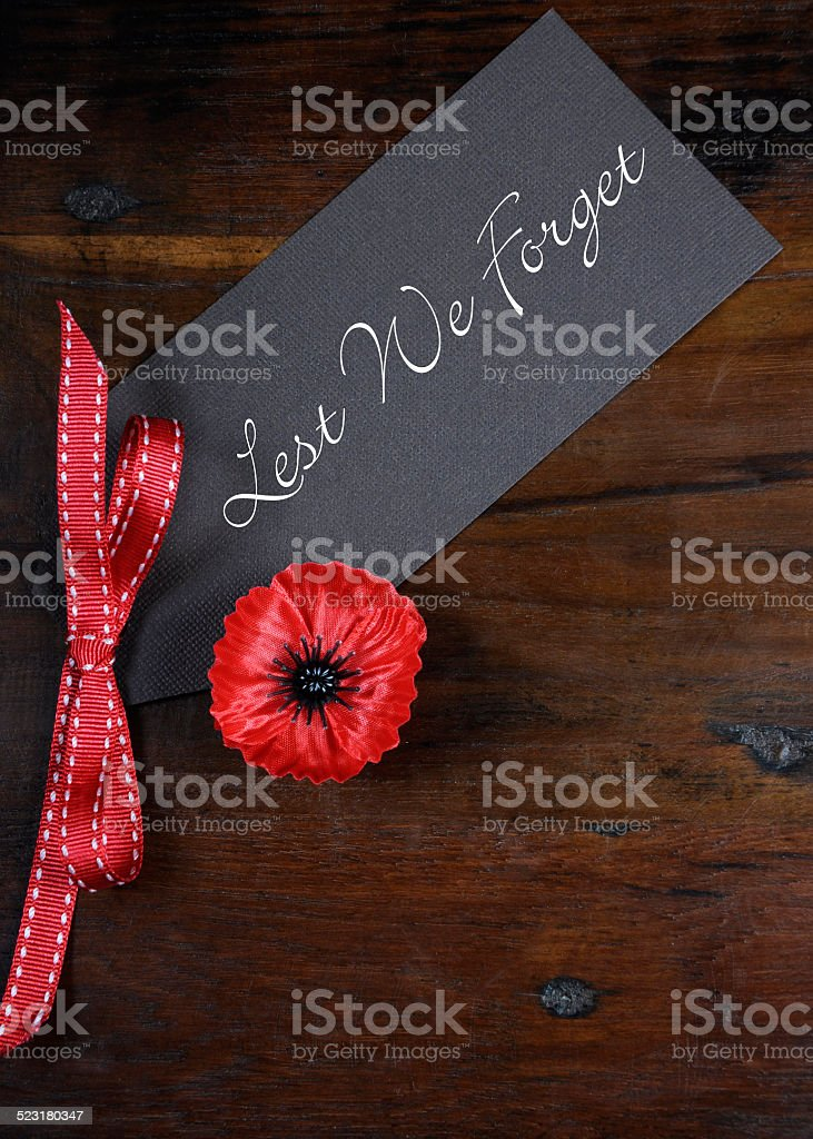Lest We Forget Red Poppy Lapel Pin Badge stock photo